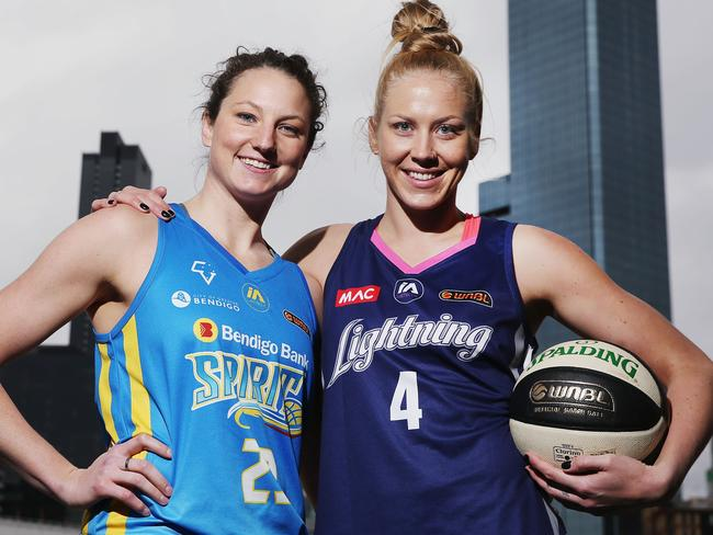 Kelsey Griffin from Bendigo Spirit and Abby Bishop from the Adelaide Lightning.