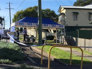 Police at a home at Coalfalls in Ipswich where a woman's body has been found.
