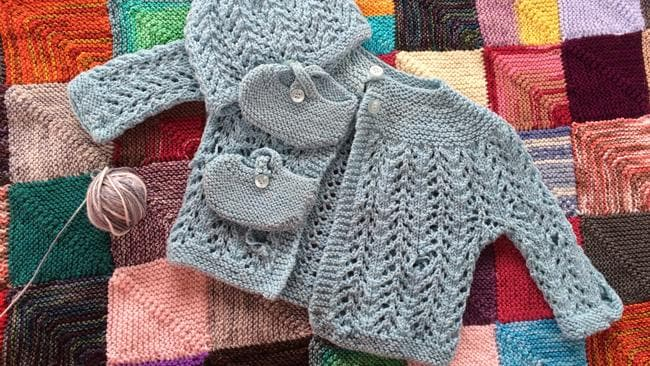The beautiful outfit Aileen knitted for her niece. Picture: Ginger Gorman