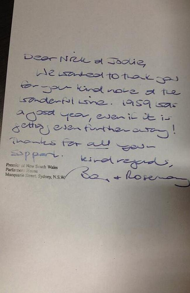 The thank you note sent by Barry O'Farrell to Mr Di Girolamo.