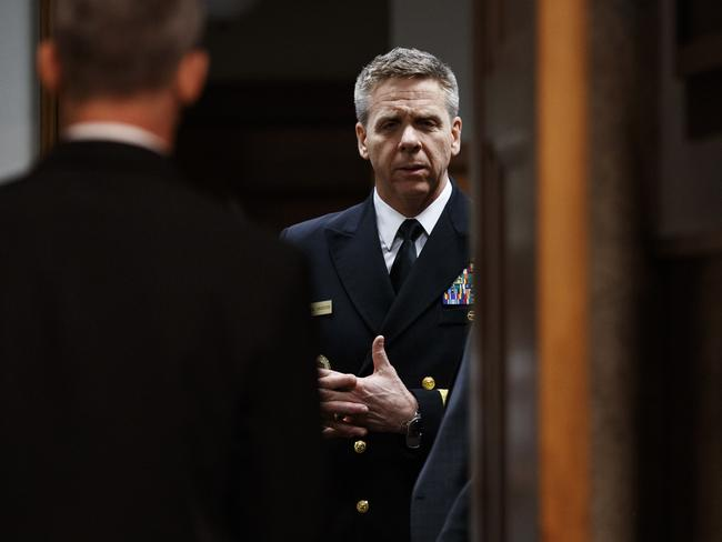 Navy Adm. Philip Davidson talks in the anteroom before testifying at a Senate Armed Services Committee hearing on Capitol Hill in Washington last week. Picture: AP