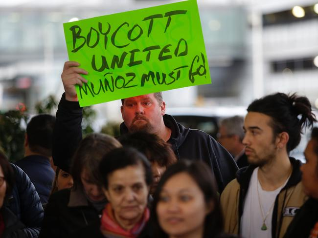 Demonstrators protest United Airlines at O'Hare International Airport in Chicago, Illinois. Picture: AFP