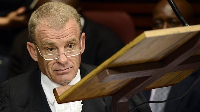 South African Prosecutor Gerrie Nel at the bail hearing of South African Olympic sprinter Oscar Pistorius at the Magistrate Court in Pretoria.