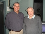 Cinematographer Ross Isaacs with David Attenborough.