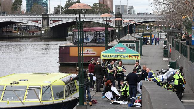 The woman and child were rescued from the Yarra River at Southbank. Picture: Ian Currie