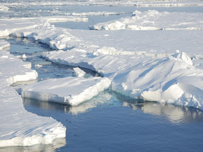 In this photo provided by Dirk Notz, taken April 24, 2009, ice floats in the Arctic near Svalbard, Norway. At current carbon emission levels, the Arctic will likely be free of sea ice in September around mid-century. Picture: Dirk Notz