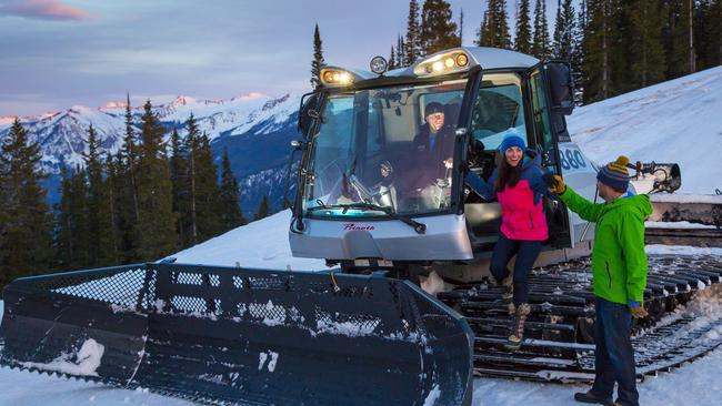 Guests of The Little Nell in Aspen can take a ride to see soke some snow grooming on a snowcat. Picture: Supplied