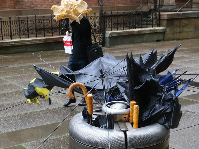 Umbrellas have been no use in the high winds experienced throughout NSW today.