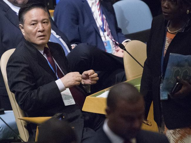 A member of the North Korean delegation takes his seat before Donald Trump's speech. Picture: AP