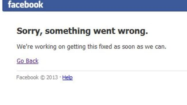 The error message ... as Facebook went down today worldwide.