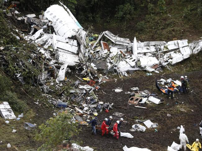 A flight attendant pulled out of the wreckage alive said the plane ran out of fuel. Picture: Fernando Vergara.