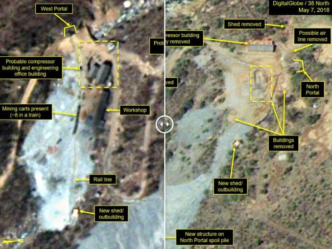 Satellite photography analysis reveals North Korea has begun removing structures at its Mt Mantap nuclear test facility. Pictures: 38 North