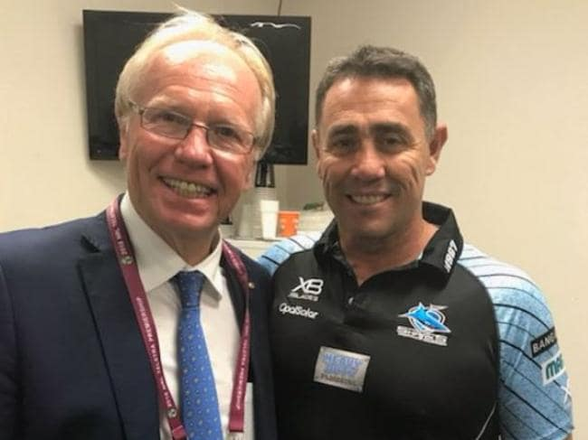 Peter Beattie with Sharks coach Shane Flanagan