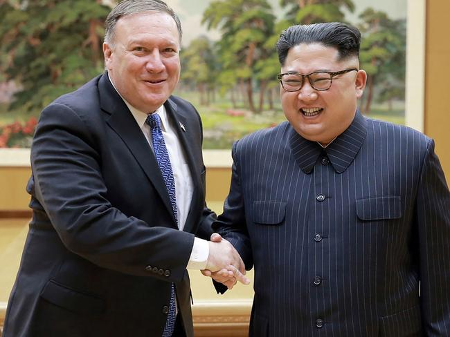 North Korean leader Kim Jong-un (R) and US Secretary of State Mike Pompeo (L) shaking hands at the Workers' Party of Korea headquarters in Pyongyang. Picture: AFP