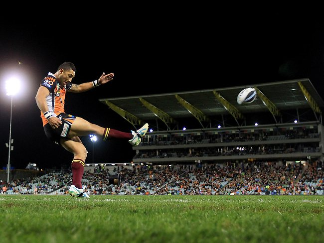Benji Marshall takes a shot from the sideline. Picture: Mark Evans