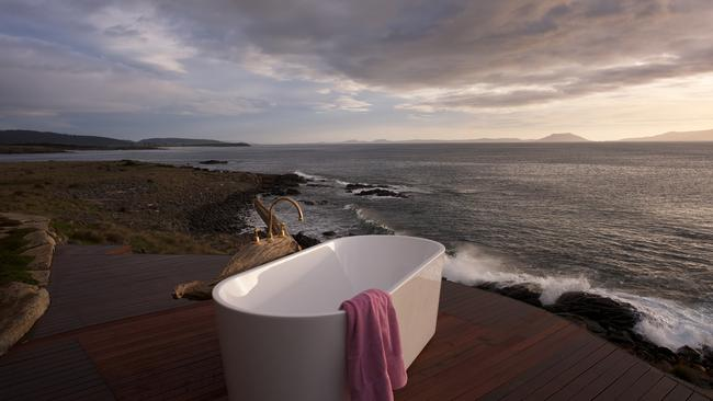 How's this for a view from the bath tub? Thalia Heaven is a remote and luxurious holiday rental in Tasmania available through Stayz.