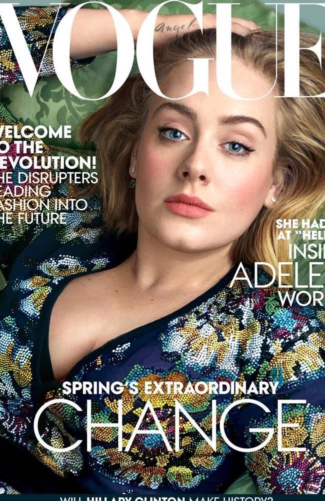 Stunning portrait ... Adele graces the cover of Vogue. Picture: Annie Leibovitz/Vogue