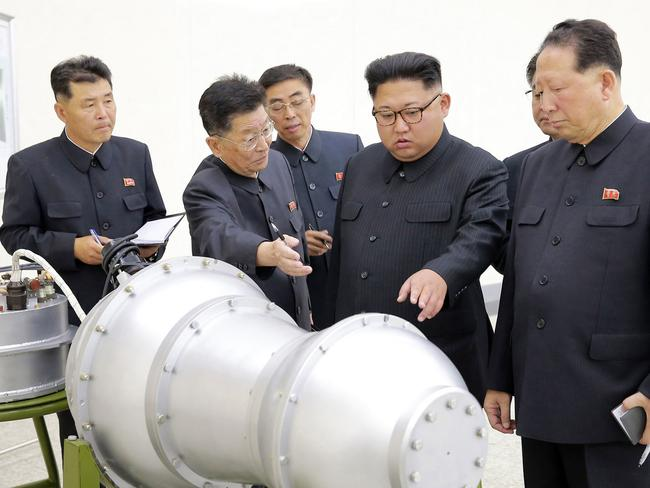 In this undated image distributed on Sunday, Sept. 3, 2017, North Korean leader Kim Jong Un inspects the loading of a hydrogen bomb into a new intercontinental ballistic missile. Picture: Korean Central News Agency/Korea News Service via AP