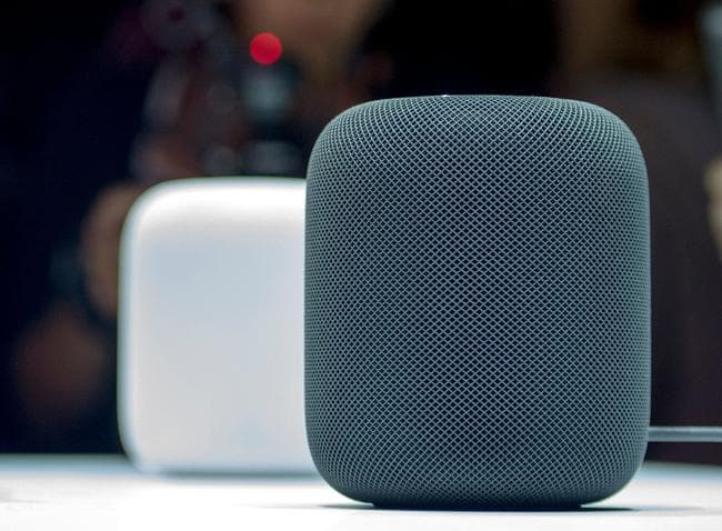 Apple's smart speaker, HomePod, features no buttons and black or white mesh. Picture: AFP PHOTO / Josh Edelson