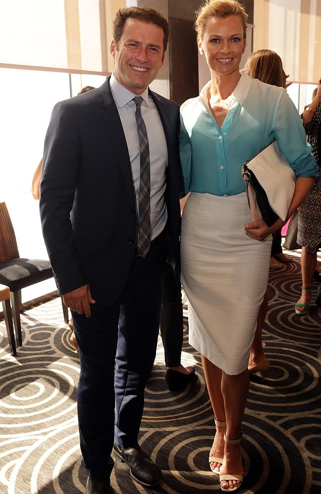 """Karl Stefanovic an Sarah Murdoch at the launch of Krystal Barter's book """"The Lucky One"""" at Shangri La hotel in Sydney."""
