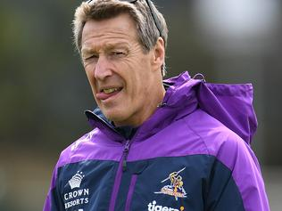 Melbourne Storm coach Craig Bellamy is seen at training at Gosch's Paddock in Melbourne, Monday, September 18, 2017. Melbourne Storm play the Brisbane Broncos in an NRL preliminary grand final on Friday. (AAP Image/Julian Smith) NO ARCHIVING