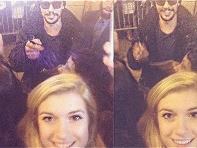 Young fan ... Lucy Clode, 17, posted a video of herself meeting Franco outside his Broadw