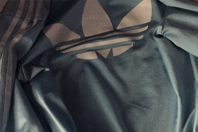 Adidas jacket blue and white black and brown