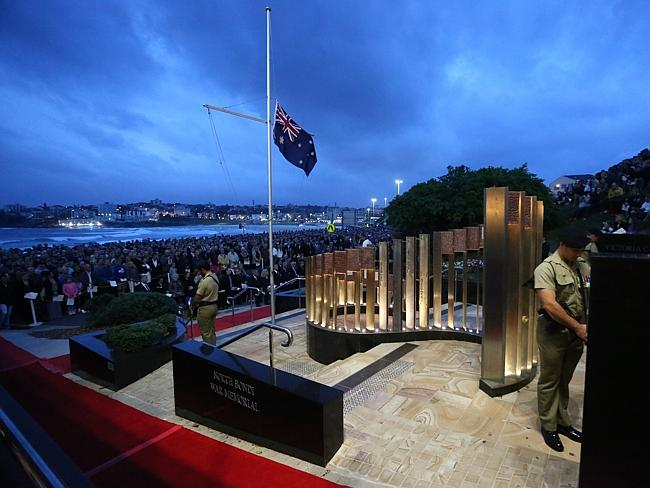 People pack the North Bondi RSL Anzac Day dawn service. Picture: Phil Blatch
