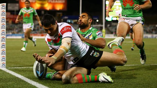 Bryson Goodwin of the Rabbitohs knocks the ball dead to save a try.