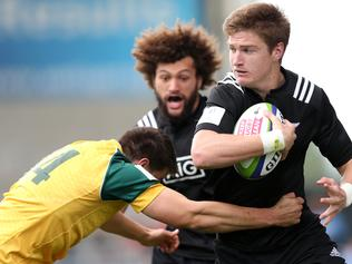 SALFORD, ENGLAND - JUNE 25: Jordie Barrett of New Zealand in action against Liam Jurd of Australia during the 5th Place play off match between Australia and New Zealand at the AJ Bell Stadium on June 25, 2016 in Salford, England.(Photo by Lynne Cameron/Getty Images)