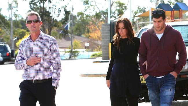 Raiders CEO Don Furner showing Bulldogs player Michael Ennis and his wife Simone around Canberra.
