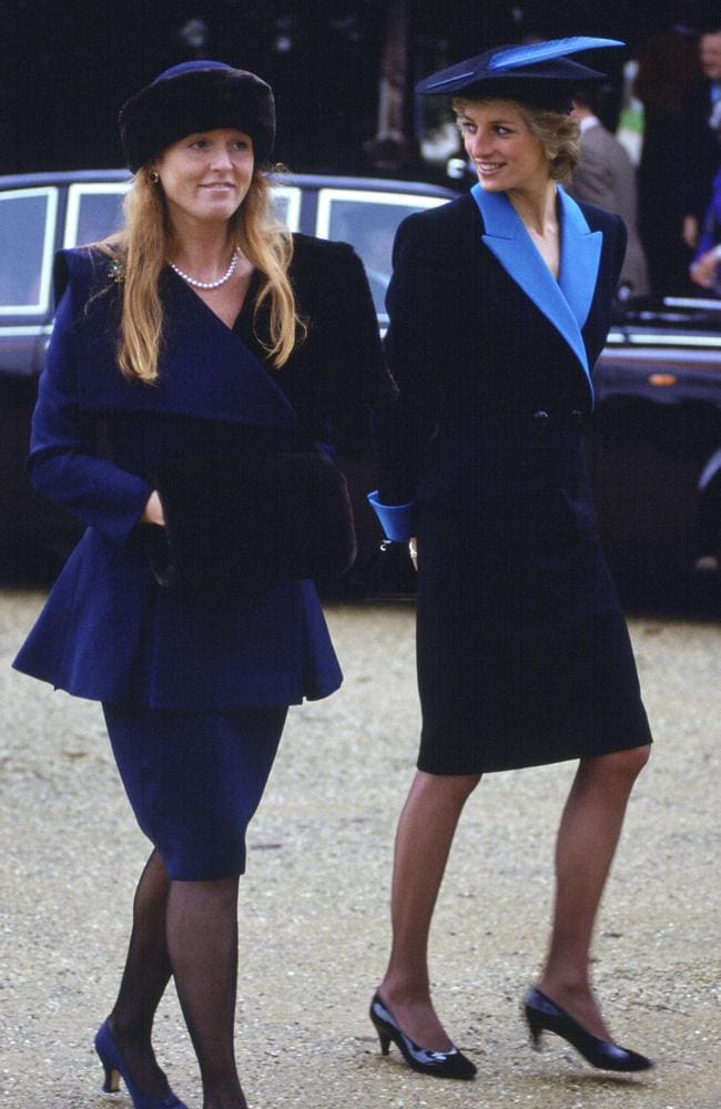 Matchy matchy. The Duchess Of York and Princess Diana, pictured at Sandringham on Christmas. Picture: Getty Images