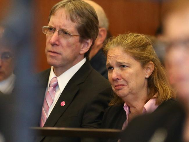 Peggie Ritzer sits with her husband Tom as they listen to the sentence of Philip Chism in Salem Superior Court. Picture: David Le/The Salem News via AP