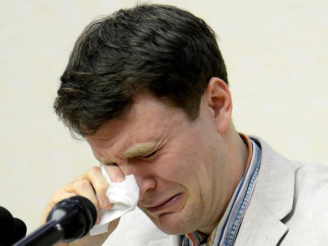 In shock ... US student Otto Frederick Warmbier was arrested for committing hostile acts against North Korea. Picture: AFP/KCNA via KNS