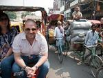 <p>Calombaris on a food tour by rickshaw of Old Delhi in November 2012. Picture: Crouch Graham</p>
