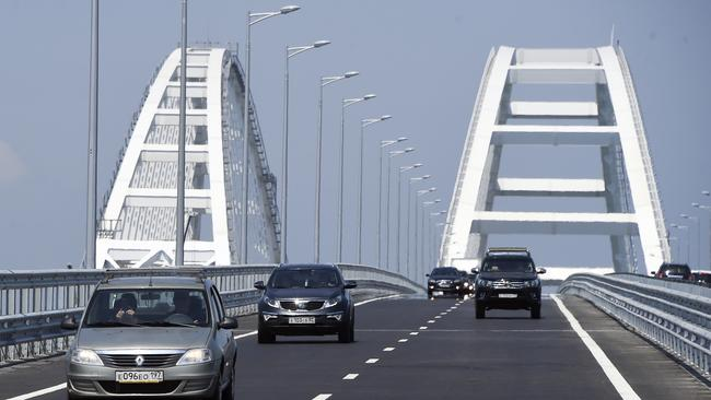 A view of the new bridge across the Kerch Strait linking Russia's Taman Peninsula with Crimea. Picture: AP Photo.