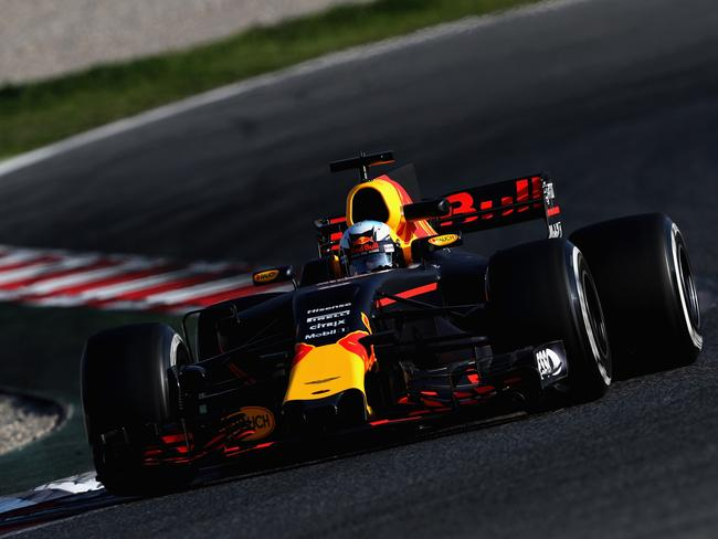 Daniel Ricciardo of Australia driving the Red Bull Racing Red Bull-TAG Heuer RB13 TAG Heuer on track during day one of Formula One winter testing.