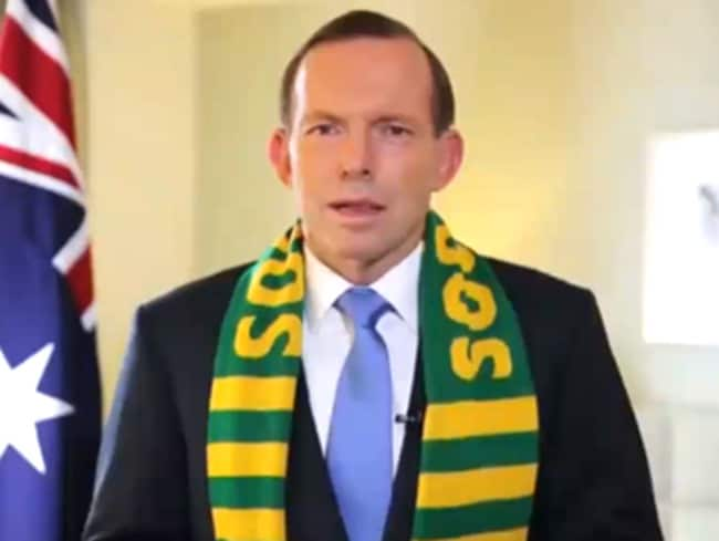 Australian Prime Minister Tony Abbott made an embarrassing gaffe, getting Australia's captain's name wrong in a support message.