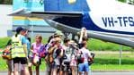 Grade six Willow State school students return home after being evacuated from a North Queensland adventure camp. Picture: Zak Simmonds