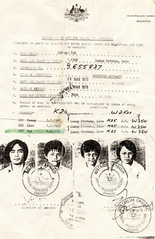 Ms Chu's refugee visa, issued by the Australian Embassy in Bangkok in 1978. Picture: Supplied