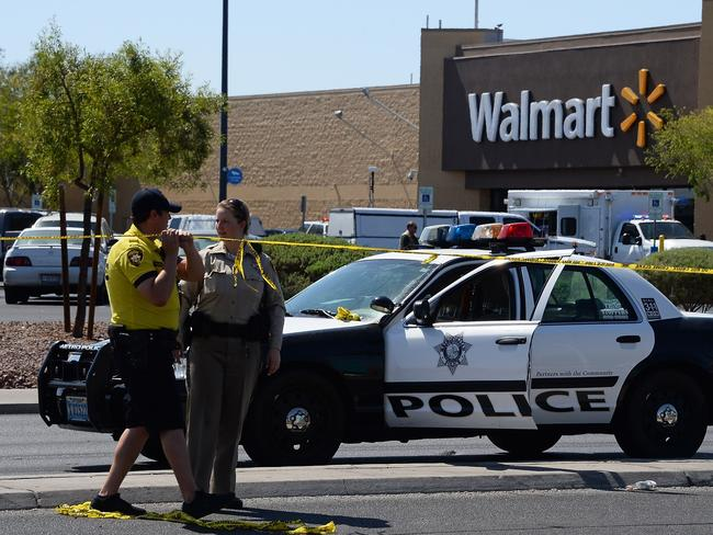 The husband-and-wife killers attacked at a pizza shop near a Walmart in Las Vegas. Picture: Getty Images/AFP