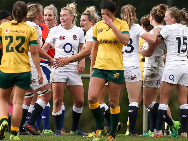 English players celebrate during the women's international Test between the Australian Wallaroos and the England Roses earlier this year.