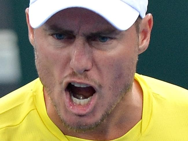 BRISBANE, AUSTRALIA - APRIL 07:  Team Captain Lleyton Hewitt of Australia celebrates after Jordan Thompson wins a break point in his match against Jack Sock of the USA during the Davis Cup World Group Quarterfinals between Australia and the USA at Pat Rafter Arena on April 7, 2017 in Brisbane, Australia.  (Photo by Bradley Kanaris/Getty Images)