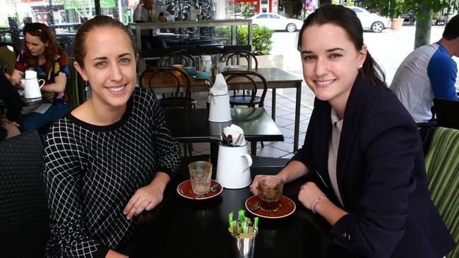 Sisters Jess and Kate Golding grab a coffee at Rosalie, one of Brisbane's pocket precincts. Pic: Darren England
