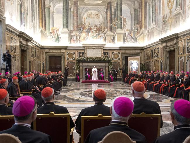 Pope Francis delivers his message on the occasion of his Christmas greetings to the Roman Curia at the Vatican. Picture: Claudio Peri/pool photo via AP