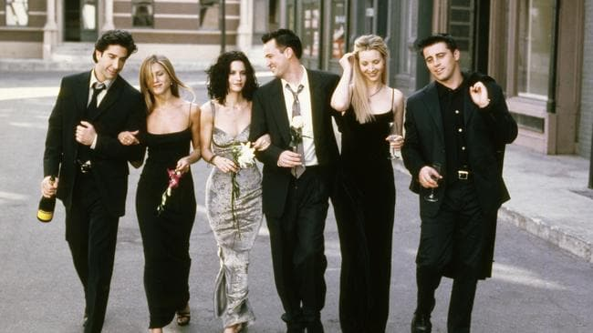 Before the fall: LeBlanc, far right, with his Friends castmates. Picture: Getty