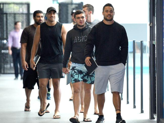 Gold Coast Titans player Jarryd Hayne (right) is seen with team mates at Titans Headquarters.