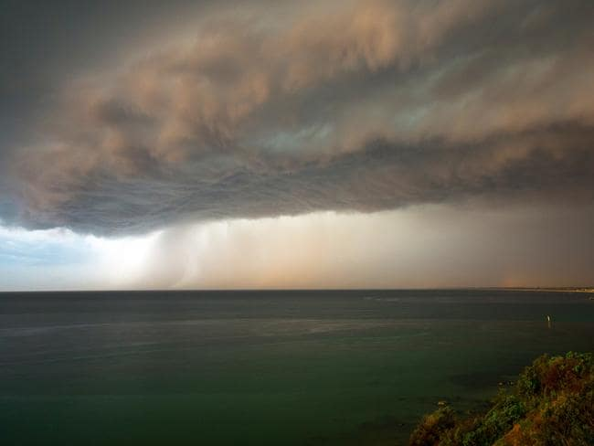 A storm shelf is pictured forming over Port Phillip Bay, near Frankston, Victoria. Picture: Mark Jager/Severe Weather Australia