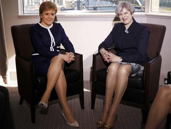 Britain's Prime Minister Theresa May, right, and Scotland's First Minister Nicola Sturgeon. Picture: AP