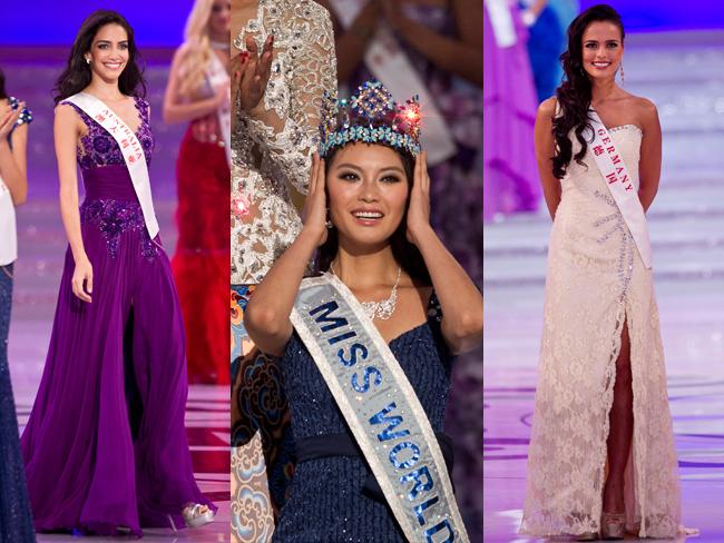 Miss Australia's Jessica Kahawaty, winner Yu Wenxia of China and Miss Germany Martina Ivezaj perform in the compeition. Picture: AP